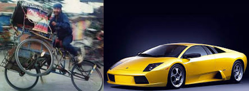 Becak vs Lamborghini